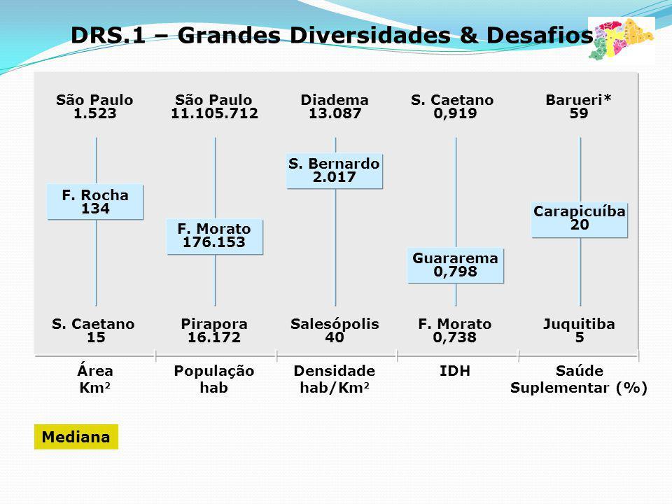 DIVERSIDADES São Paulo 1.523 São Paulo 11.105.712 Diadema 13.087 S. Caetano 0,919 Barueri* 59 S. Caetano 15 Pirapora 16.172 Salesópolis 40 F. Morato 0