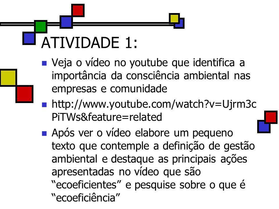 ATIVIDADE 1: Veja o vídeo no youtube que identifica a importância da consciência ambiental nas empresas e comunidade http://www.youtube.com/watch?v=Uj