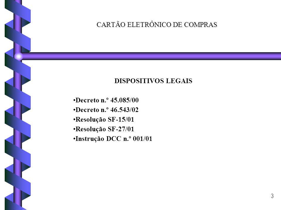 3 CARTÃO ELETRÔNICO DE COMPRAS DISPOSITIVOS LEGAIS Decreto n.º 45.085/00 Decreto n.º 46.543/02 Resolução SF-15/01 Resolução SF-27/01 Instrução DCC n.º