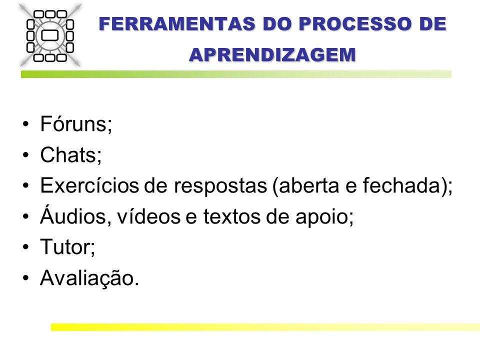 FERRAMENTAS DO PROCESSO DE APRENDIZAGEM Fóruns; Chats; Exercícios de respostas (aberta e fechada); Áudios, vídeos e textos de apoio; Tutor; Avaliação.