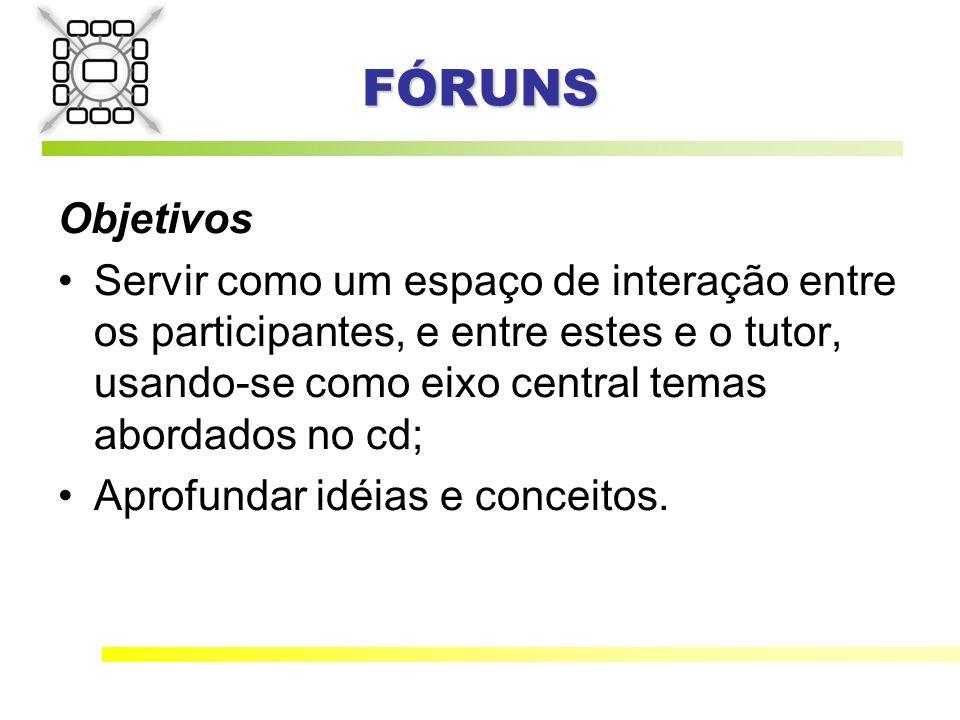FÓRUNS Objetivos Servir como um espaço de interação entre os participantes, e entre estes e o tutor, usando-se como eixo central temas abordados no cd; Aprofundar idéias e conceitos.