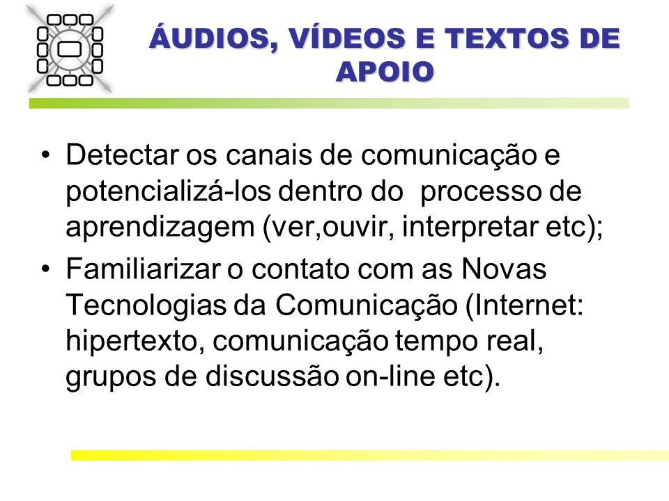 ÁUDIOS, VÍDEOS E TEXTOS DE APOIO Detectar os canais de comunicação e potencializá-los dentro do processo de aprendizagem (ver,ouvir, interpretar etc); Familiarizar o contato com as Novas Tecnologias da Comunicação (Internet: hipertexto, comunicação tempo real, grupos de discussão on-line etc).