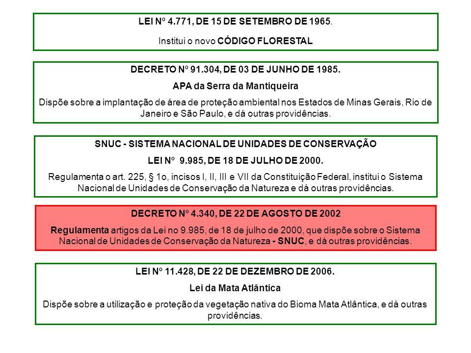 LEI Nº 4.771, DE 15 DE SETEMBRO DE 1965. Institui o novo CÓDIGO FLORESTAL DECRETO Nº 91.304, DE 03 DE JUNHO DE 1985. APA da Serra da Mantiqueira Dispõ