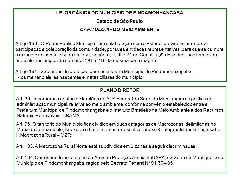LEI ORGÂNICA DO MUNICÍPIO DE PINDAMONHANGABA Estado de São Paulo CAPÍTULO III - DO MEIO AMBIENTE Artigo 156 - O Poder Público Municipal, em colaboraçã
