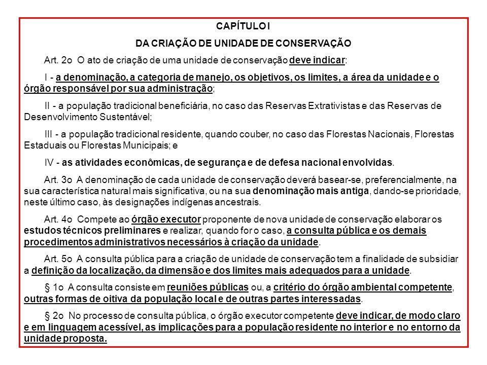 CAPÍTULO I DA CRIAÇÃO DE UNIDADE DE CONSERVAÇÃO Art. 2o O ato de criação de uma unidade de conservação deve indicar: I - a denominação, a categoria de