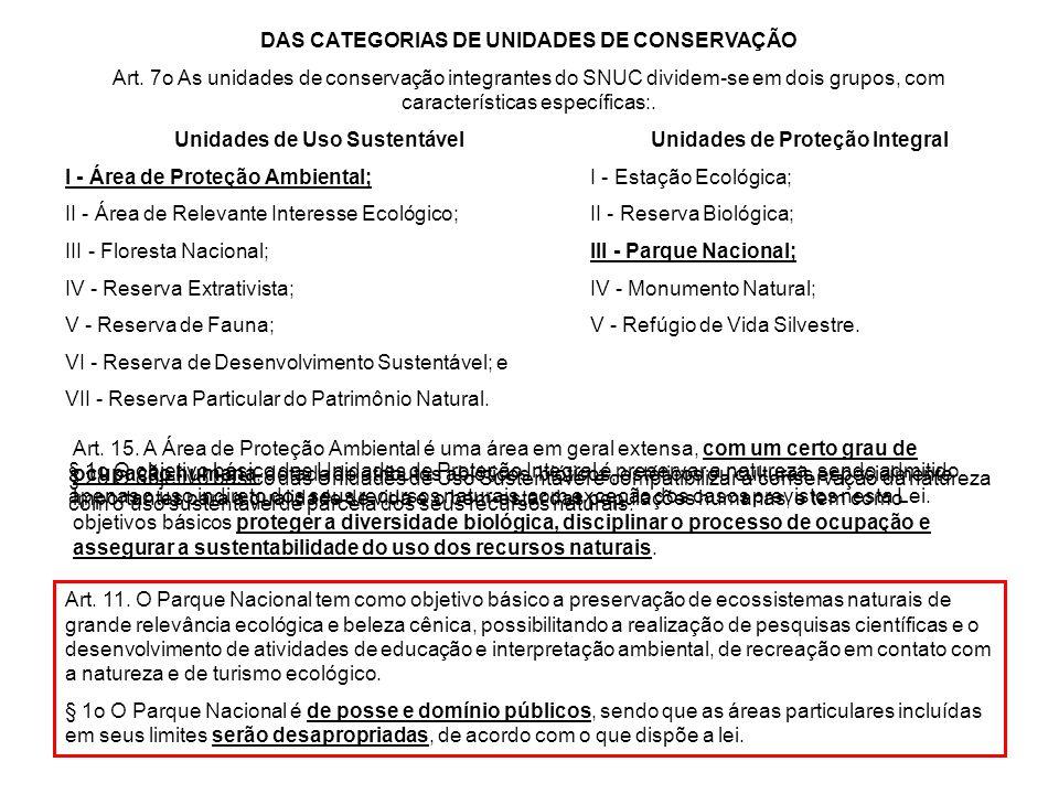 DAS CATEGORIAS DE UNIDADES DE CONSERVAÇÃO Art. 7o As unidades de conservação integrantes do SNUC dividem-se em dois grupos, com características especí