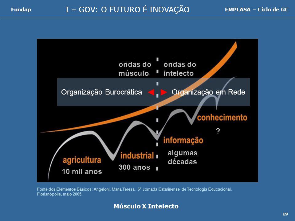 I – GOV: O FUTURO É INOVAÇÃO FundapEMPLASA – Ciclo de GC 19 Fonte dos Elementos Básicos: Angeloni, Maria Teresa.