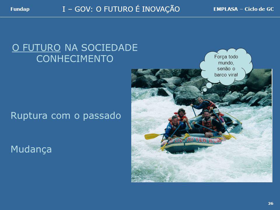 I – GOV: O FUTURO É INOVAÇÃO FundapEMPLASA – Ciclo de GC 26 O FUTURO NA SOCIEDADE CONHECIMENTO Ruptura com o passado Mudança Força todo mundo, senão o barco vira!