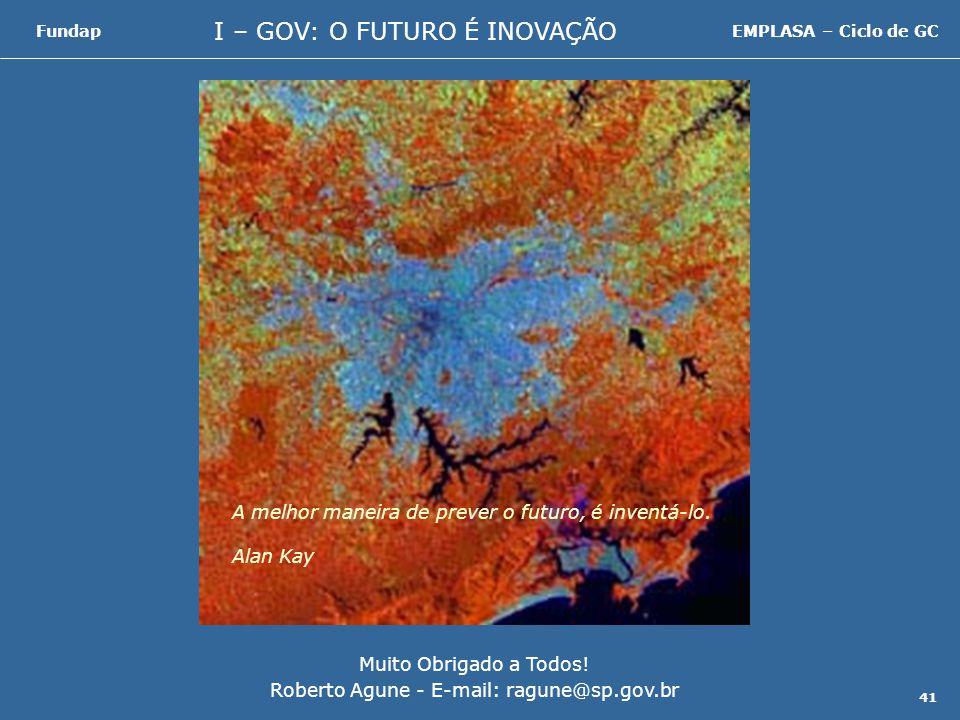 I – GOV: O FUTURO É INOVAÇÃO FundapEMPLASA – Ciclo de GC 41 Muito Obrigado a Todos.