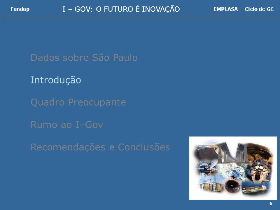 I – GOV: O FUTURO É INOVAÇÃO FundapEMPLASA – Ciclo de GC 37 Dados sobre São Paulo Introdução Quadro Preocupante Rumo ao I–Gov Recomendações e Conclusões