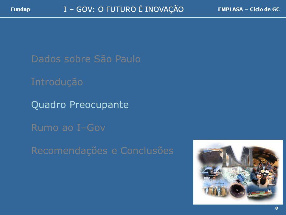 I – GOV: O FUTURO É INOVAÇÃO FundapEMPLASA – Ciclo de GC 29 Nova visão de setor público que prioriza a produção e o uso do conhecimento, com vistas a promover melhoria dos processos de governo e valorizar a inovação como prática de trabalho.