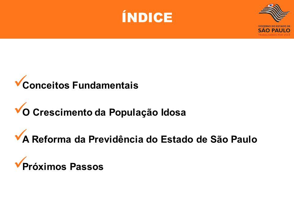 Conceitos Fundamentais O Crescimento da População Idosa A Reforma da Previdência do Estado de São Paulo Próximos Passos ÍNDICE