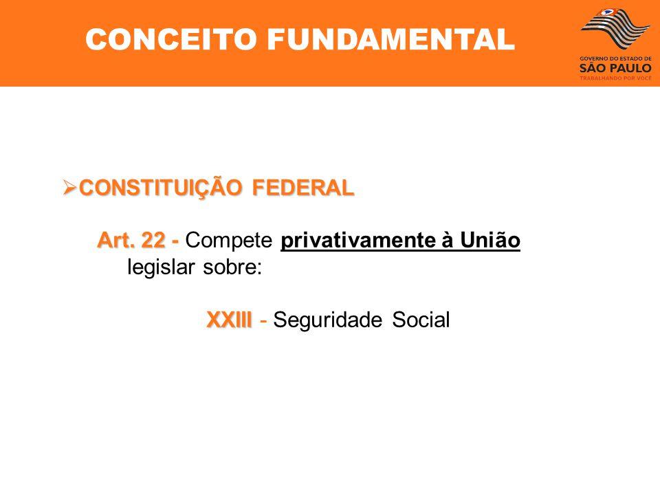 CONSTITUIÇÃO FEDERAL CONSTITUIÇÃO FEDERAL Art. 22 Art. 22 - Compete privativamente à União legislar sobre: XXIII XXIII - Seguridade Social CONCEITO FU