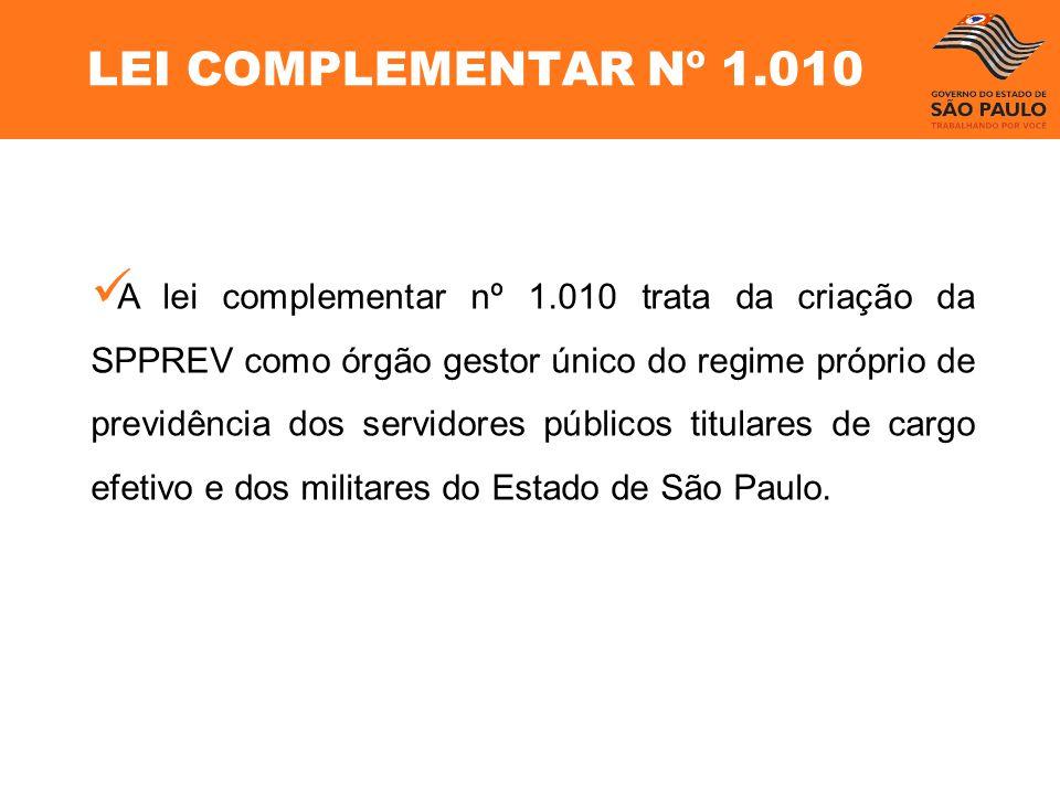 LEI COMPLEMENTAR Nº 1.010 A lei complementar nº 1.010 trata da criação da SPPREV como órgão gestor único do regime próprio de previdência dos servidor