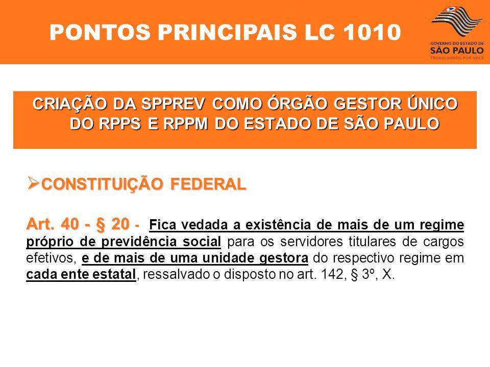 CRIAÇÃO DA SPPREV COMO ÓRGÃO GESTOR ÚNICO DO RPPS E RPPM DO ESTADO DE SÃO PAULO CONSTITUIÇÃO FEDERAL CONSTITUIÇÃO FEDERAL Art. 40- § 20 Art. 40 - § 20
