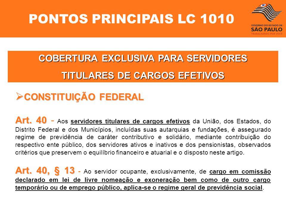 COBERTURA EXCLUSIVA PARA SERVIDORES TITULARES DE CARGOS EFETIVOS CONSTITUIÇÃO FEDERAL CONSTITUIÇÃO FEDERAL Art. 40 Art. 40 - Aos servidores titulares
