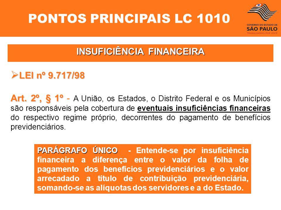 INSUFICIÊNCIA FINANCEIRA LEI nº 9.717/98 LEI nº 9.717/98 Art. 2º, § 1º Art. 2º, § 1º - A União, os Estados, o Distrito Federal e os Municípios são res