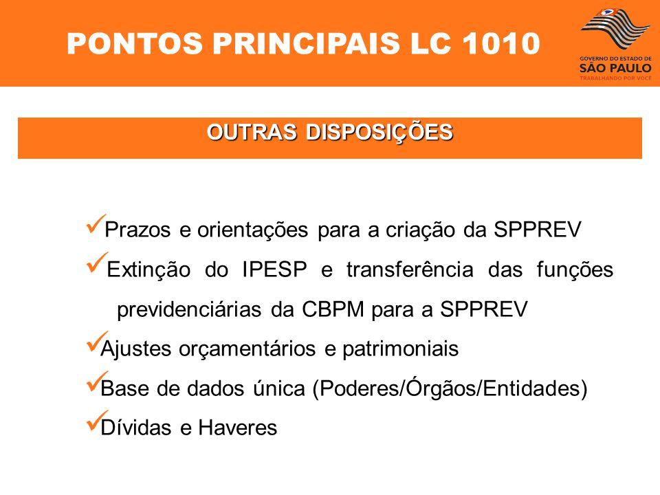 OUTRAS DISPOSIÇÕES Prazos e orientações para a criação da SPPREV Extinção do IPESP e transferência das funções previdenciárias da CBPM para a SPPREV A