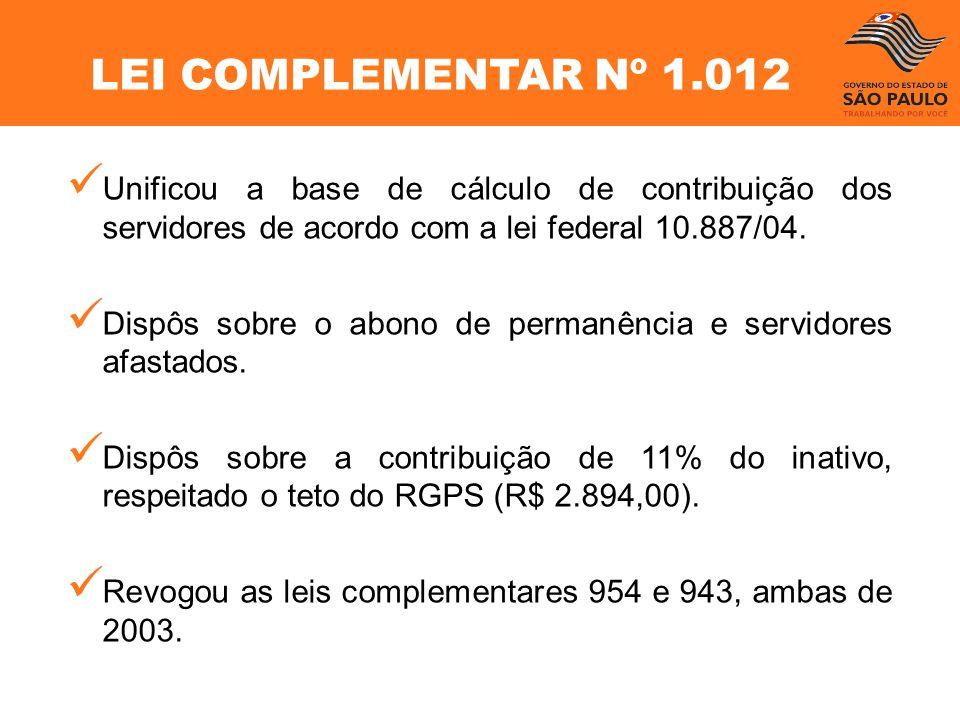 Unificou a base de cálculo de contribuição dos servidores de acordo com a lei federal 10.887/04. Dispôs sobre o abono de permanência e servidores afas