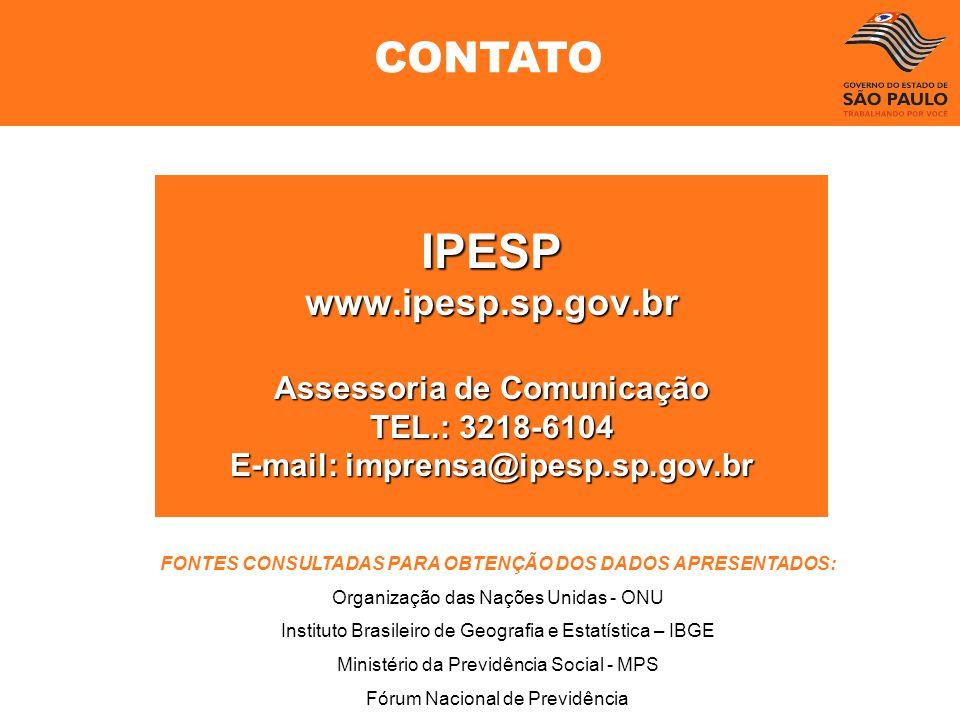 IPESPwww.ipesp.sp.gov.br Assessoria de Comunicação TEL.: 3218-6104 E-mail: imprensa@ipesp.sp.gov.br FONTES CONSULTADAS PARA OBTENÇÃO DOS DADOS APRESEN