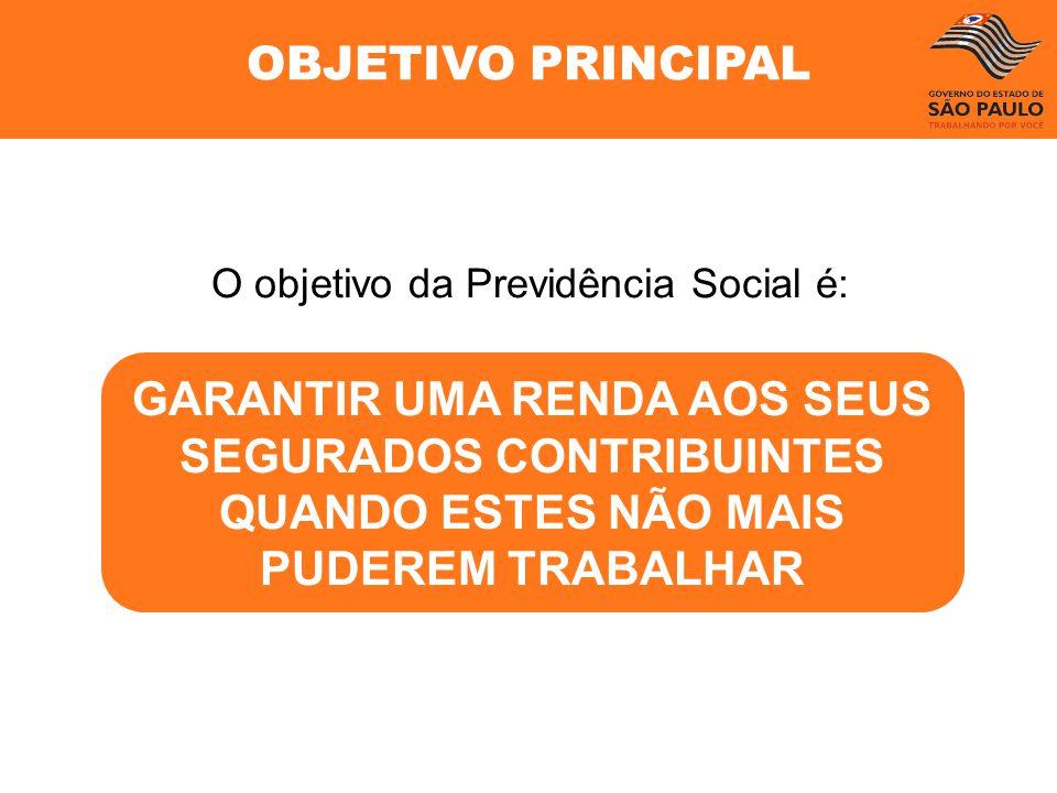 GARANTIR UMA RENDA AOS SEUS SEGURADOS CONTRIBUINTES QUANDO ESTES NÃO MAIS PUDEREM TRABALHAR O objetivo da Previdência Social é: OBJETIVO PRINCIPAL