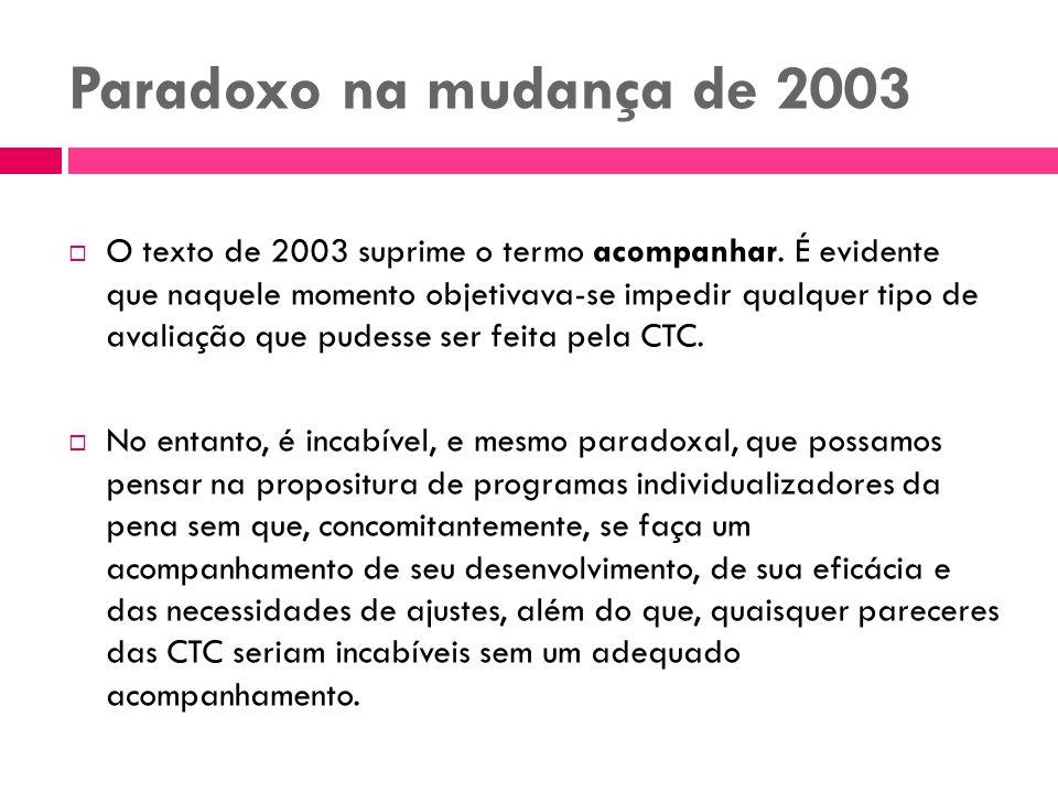 Paradoxo na mudança de 2003 O texto de 2003 suprime o termo acompanhar. É evidente que naquele momento objetivava-se impedir qualquer tipo de avaliaçã