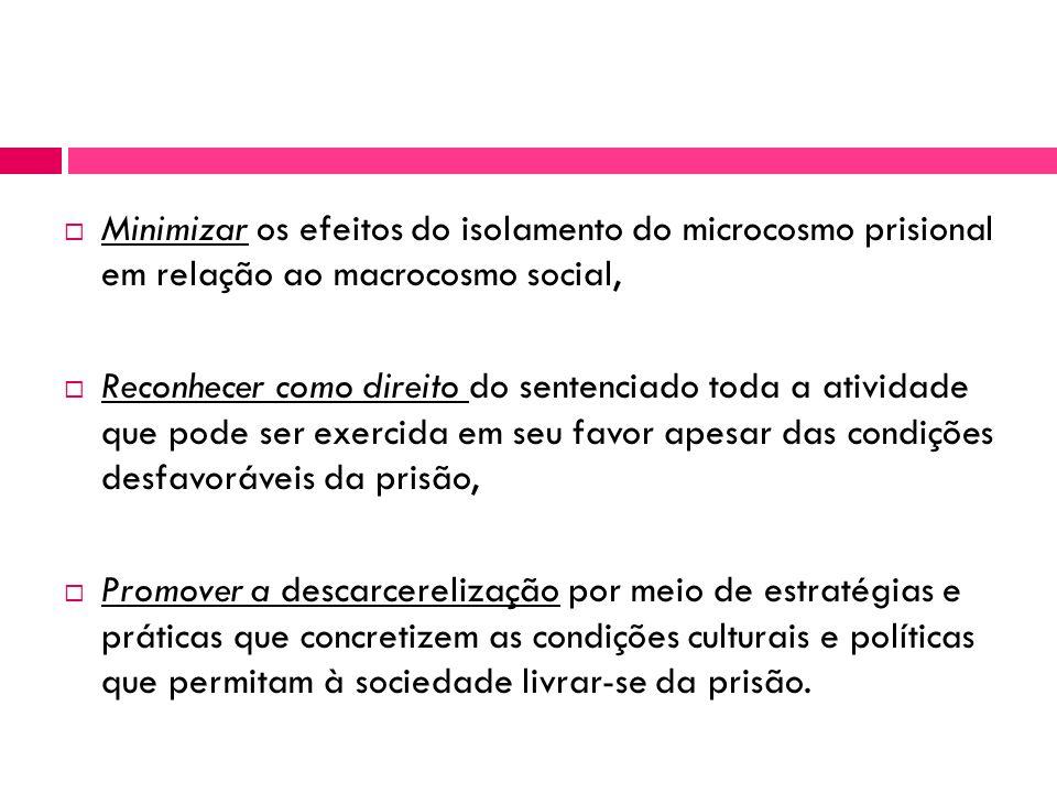 Minimizar os efeitos do isolamento do microcosmo prisional em relação ao macrocosmo social, Reconhecer como direito do sentenciado toda a atividade qu