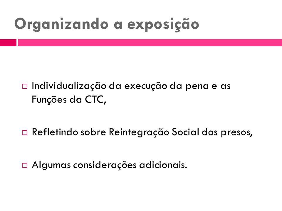 Organizando a exposição Individualização da execução da pena e as Funções da CTC, Refletindo sobre Reintegração Social dos presos, Algumas consideraçõ