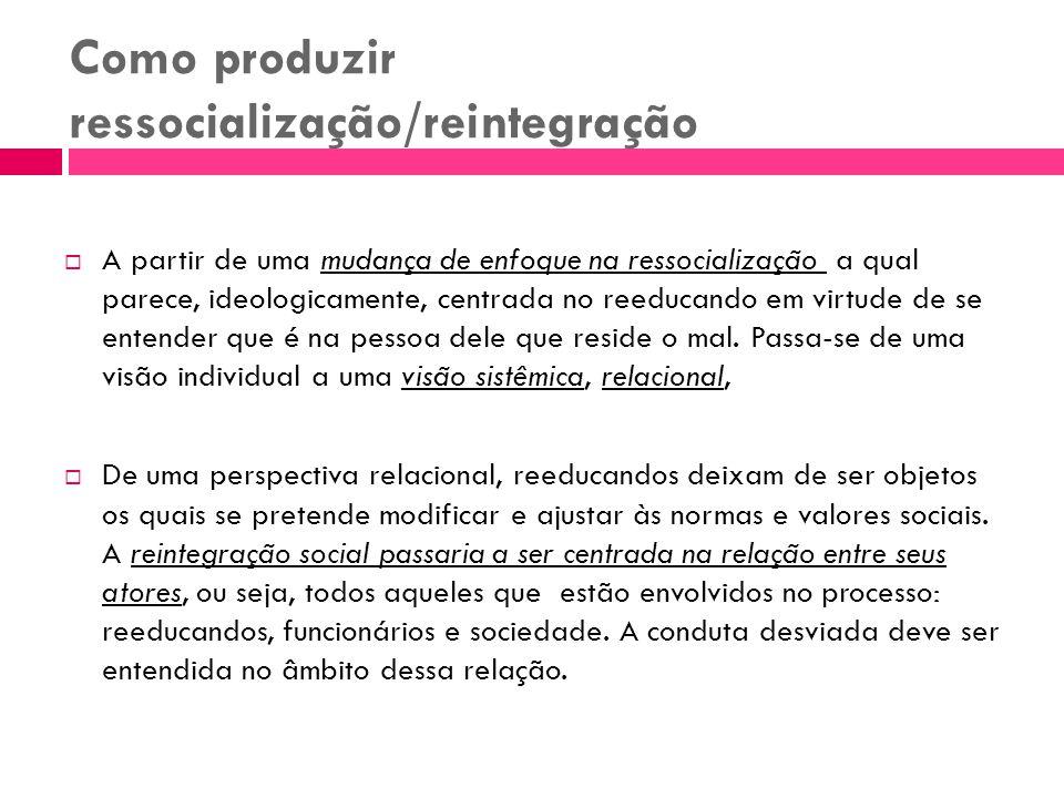 Como produzir ressocialização/reintegração A partir de uma mudança de enfoque na ressocialização a qual parece, ideologicamente, centrada no reeducand