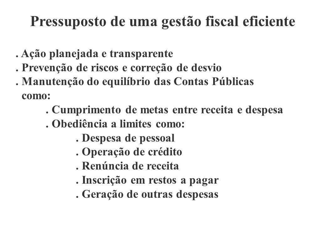 Pressuposto de uma gestão fiscal eficiente. Ação planejada e transparente.