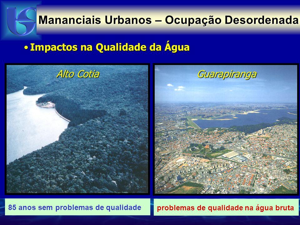 Impactos na Qualidade da ÁguaImpactos na Qualidade da Água Billings Guarapiranga Alto Cotia problemas de qualidade na água bruta 85 anos sem problemas