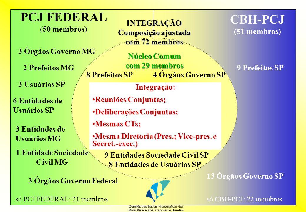 PCJ FEDERAL (50 membros) CBH-PCJ (51 membros) 20 membros dos poderes públicos Federal (3), Estaduais (4 SP e 3 MG) e Municipais (8 SP e 2 MG) (40%) 17 membros dos órgãos do Governo do Estado (1/3) 20 membros representantes dos usuários de recursos hídricos (17 SP e 3 MG) (40%) 10 membros representantes de organizações civis (9 SP e 1 MG) (20%) 17 Prefeitos dos Municípios (1/3) 17 Entidades da Sociedade Civil (1/3) Lei 9.433/97 Lei 7.663/91 3 membros dos órgãos do Governo do Estado (1/4) 3 Prefeitos (1/4) 3 membros representantes dos usuários (1/4) 3 membros representantes de organizações civis (1/4) CBH-PJ (12 membros) Composição segundo as legislações vigentes Lei 13.199/99