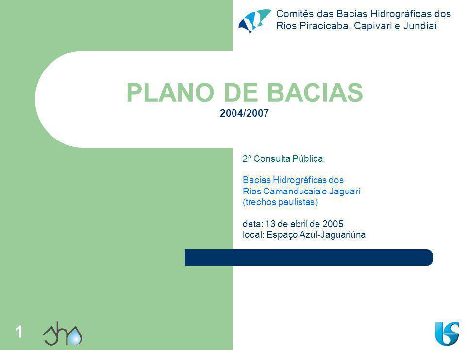 Comitês das Bacias Hidrográficas dos Rios Piracicaba, Capivari e Jundiaí 1 PLANO DE BACIAS 2004/2007 2ª Consulta Pública: Bacias Hidrográficas dos Rio