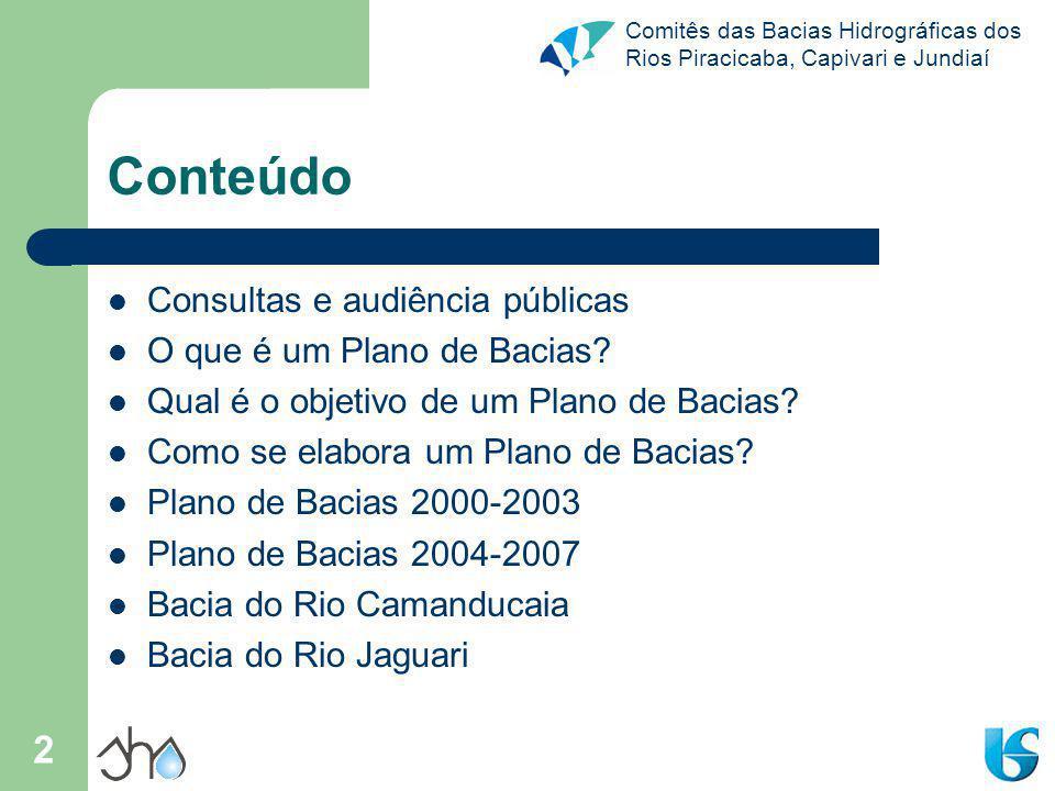 Comitês das Bacias Hidrográficas dos Rios Piracicaba, Capivari e Jundiaí 43 Para refletir...