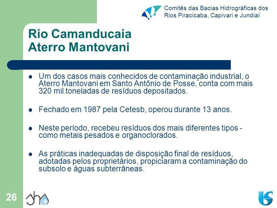 Comitês das Bacias Hidrográficas dos Rios Piracicaba, Capivari e Jundiaí 26 Rio Camanducaia Aterro Mantovani Um dos casos mais conhecidos de contamina