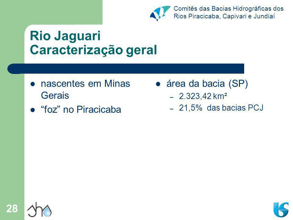 Comitês das Bacias Hidrográficas dos Rios Piracicaba, Capivari e Jundiaí 28 Rio Jaguari Caracterização geral nascentes em Minas Gerais foz no Piracica