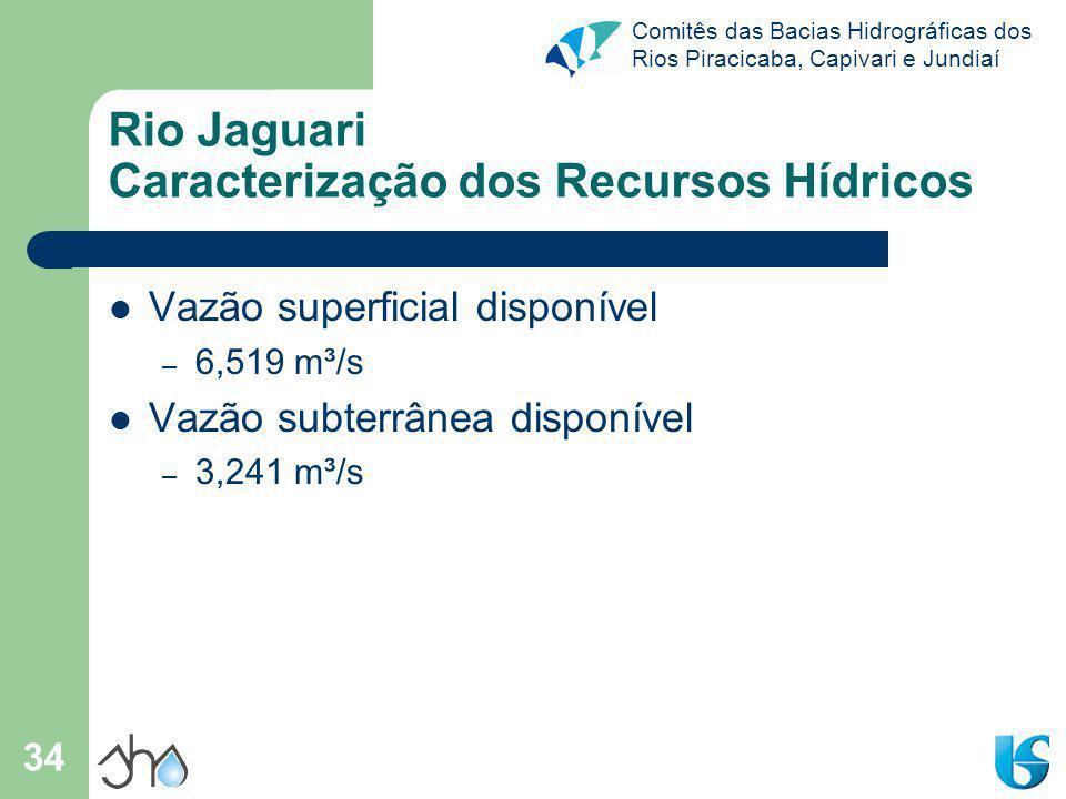 Comitês das Bacias Hidrográficas dos Rios Piracicaba, Capivari e Jundiaí 34 Rio Jaguari Caracterização dos Recursos Hídricos Vazão superficial disponí