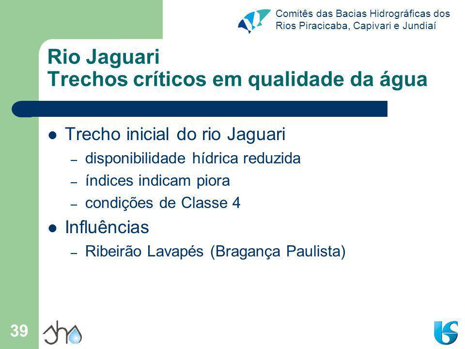 Comitês das Bacias Hidrográficas dos Rios Piracicaba, Capivari e Jundiaí 39 Rio Jaguari Trechos críticos em qualidade da água Trecho inicial do rio Ja