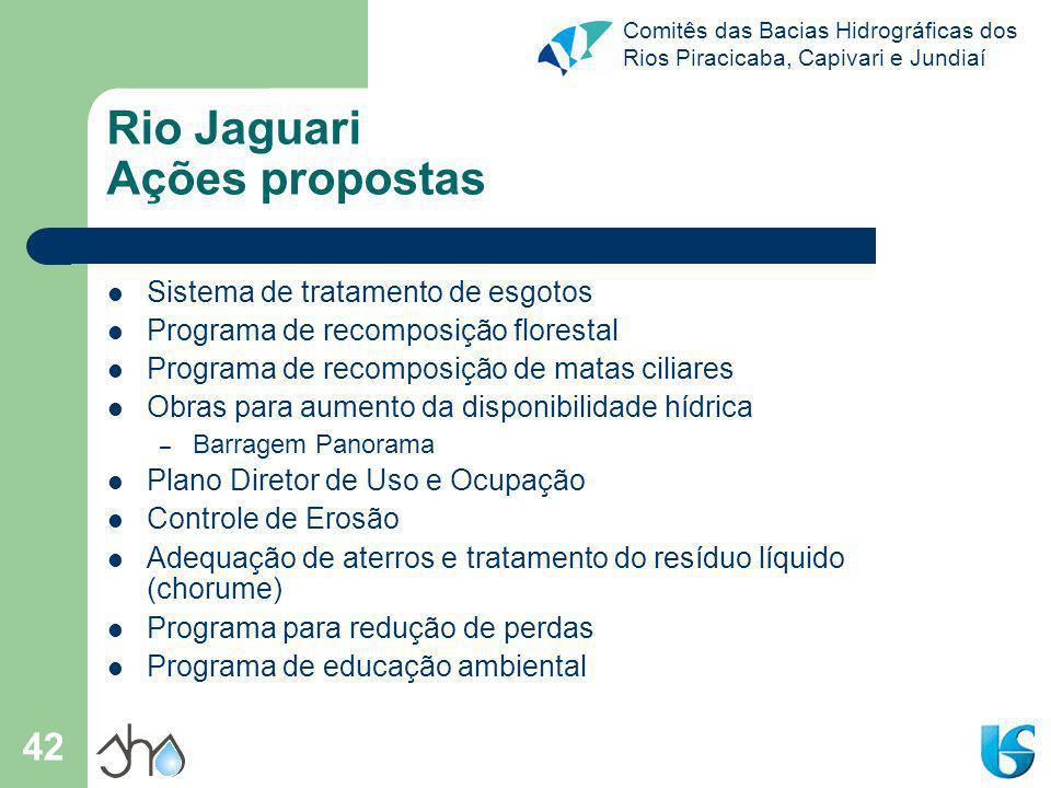 Comitês das Bacias Hidrográficas dos Rios Piracicaba, Capivari e Jundiaí 42 Rio Jaguari Ações propostas Sistema de tratamento de esgotos Programa de r