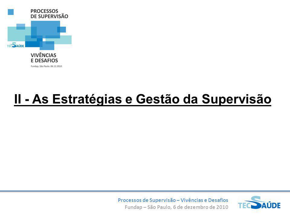 Processos de Supervisão – Vivências e Desafios Fundap – São Paulo, 6 de dezembro de 2010 II - As Estratégias e Gestão da Supervisão