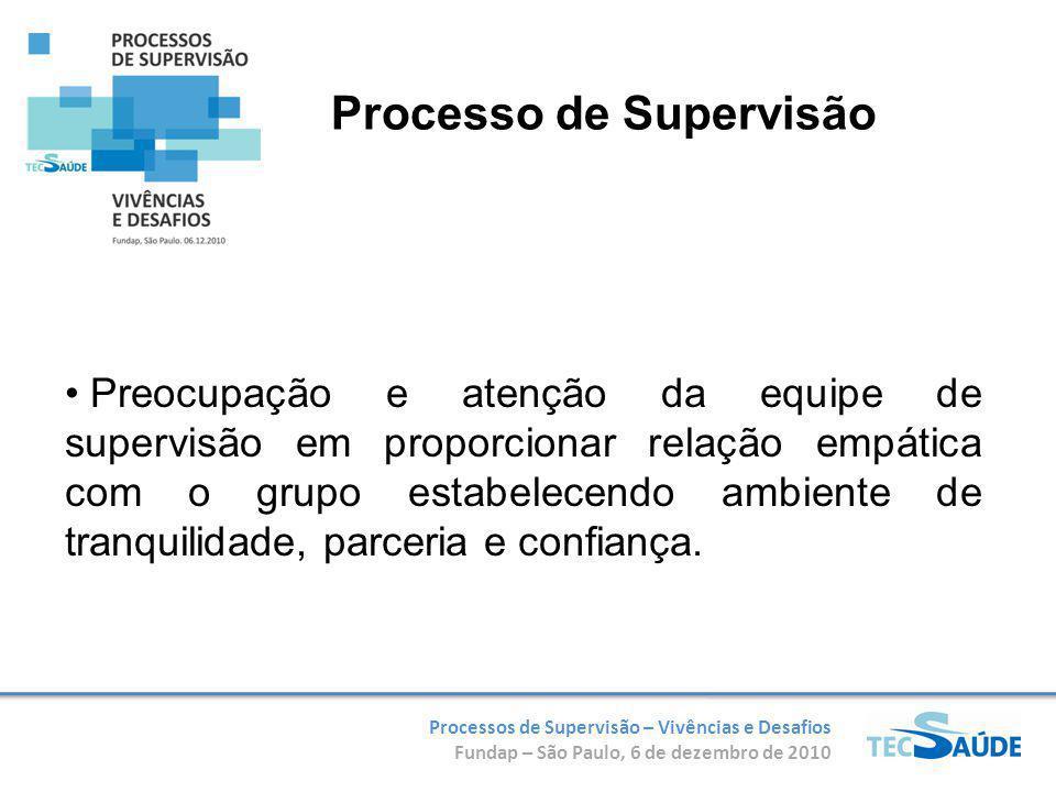 Processos de Supervisão – Vivências e Desafios Fundap – São Paulo, 6 de dezembro de 2010 Preocupação e atenção da equipe de supervisão em proporcionar