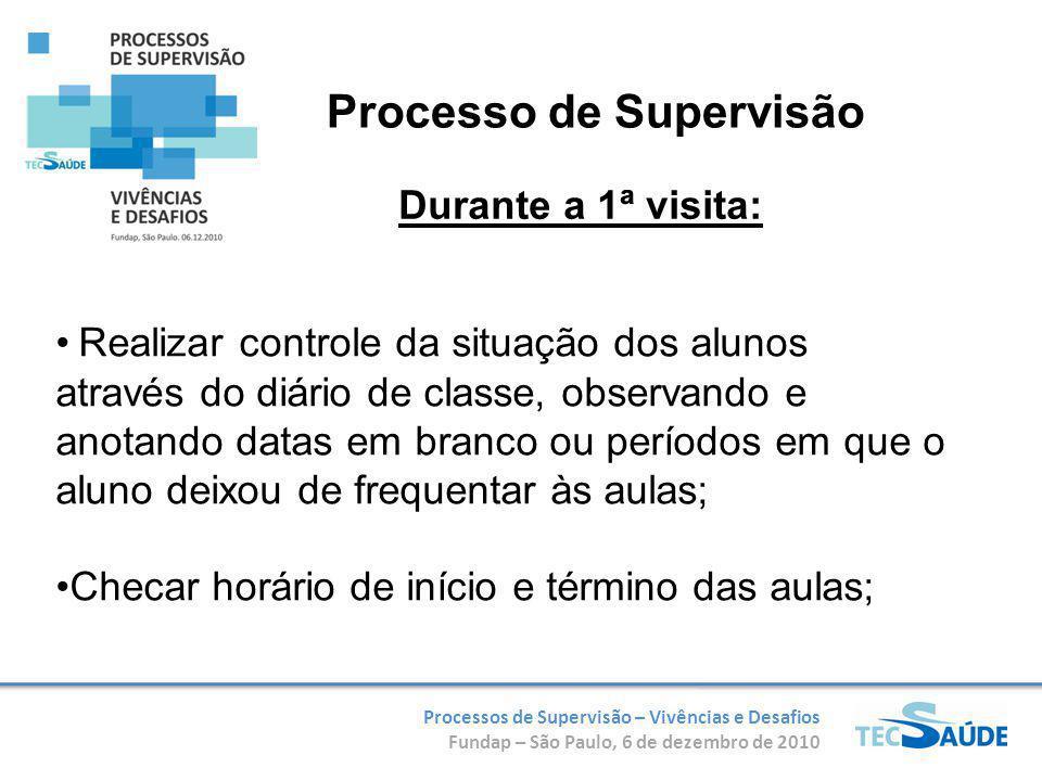 Processos de Supervisão – Vivências e Desafios Fundap – São Paulo, 6 de dezembro de 2010 Realizar controle da situação dos alunos através do diário de