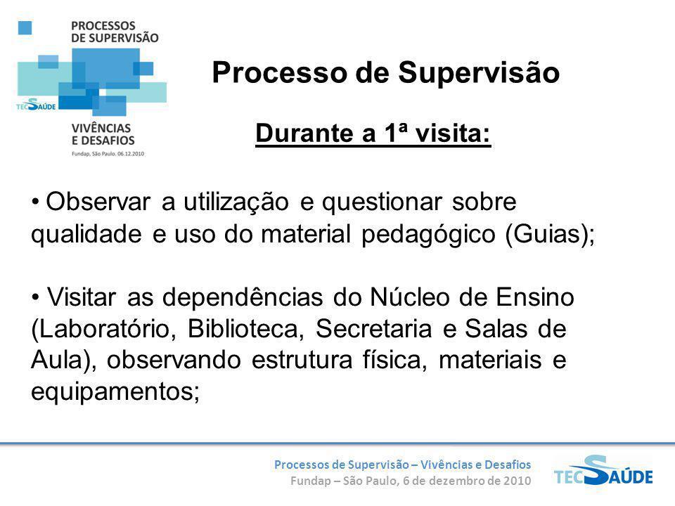 Processos de Supervisão – Vivências e Desafios Fundap – São Paulo, 6 de dezembro de 2010 Observar a utilização e questionar sobre qualidade e uso do m