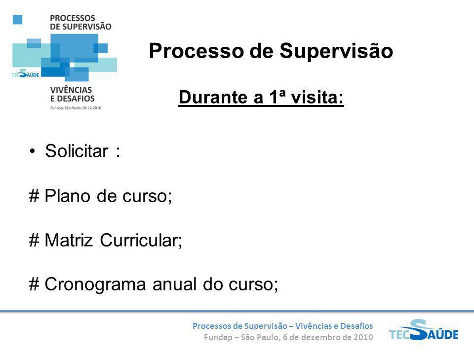 Processos de Supervisão – Vivências e Desafios Fundap – São Paulo, 6 de dezembro de 2010 Solicitar : # Plano de curso; # Matriz Curricular; # Cronograma anual do curso; Durante a 1ª visita: Processo de Supervisão