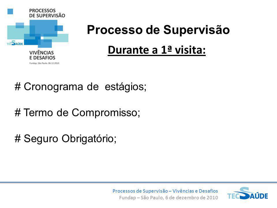 Processos de Supervisão – Vivências e Desafios Fundap – São Paulo, 6 de dezembro de 2010 # Cronograma de estágios; # Termo de Compromisso; # Seguro Obrigatório; Durante a 1ª visita: Processo de Supervisão