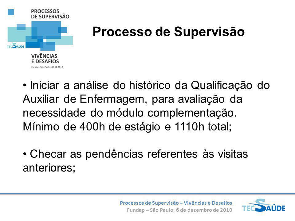 Processos de Supervisão – Vivências e Desafios Fundap – São Paulo, 6 de dezembro de 2010 Iniciar a análise do histórico da Qualificação do Auxiliar de Enfermagem, para avaliação da necessidade do módulo complementação.