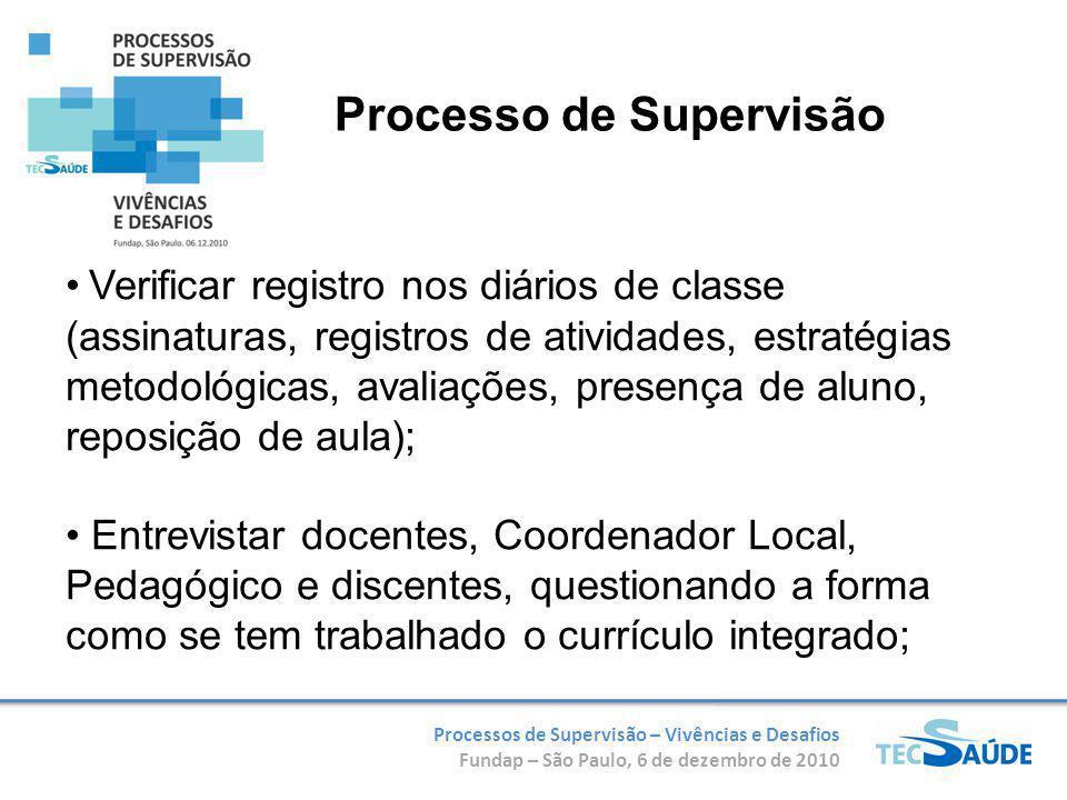 Processos de Supervisão – Vivências e Desafios Fundap – São Paulo, 6 de dezembro de 2010 Verificar registro nos diários de classe (assinaturas, regist