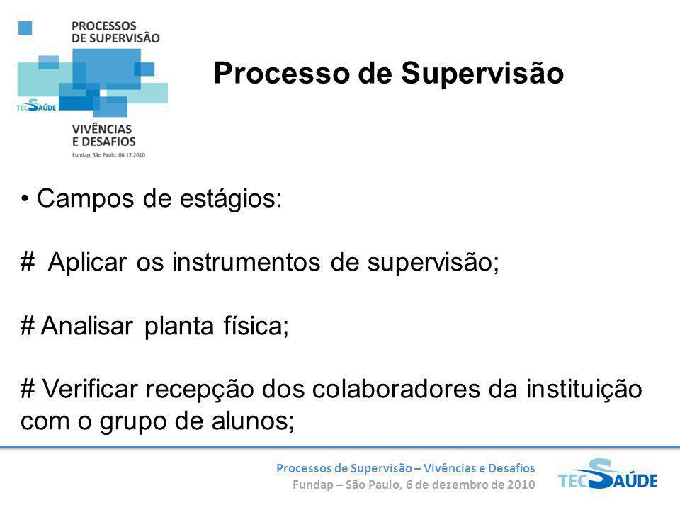 Processos de Supervisão – Vivências e Desafios Fundap – São Paulo, 6 de dezembro de 2010 Campos de estágios: # Aplicar os instrumentos de supervisão;