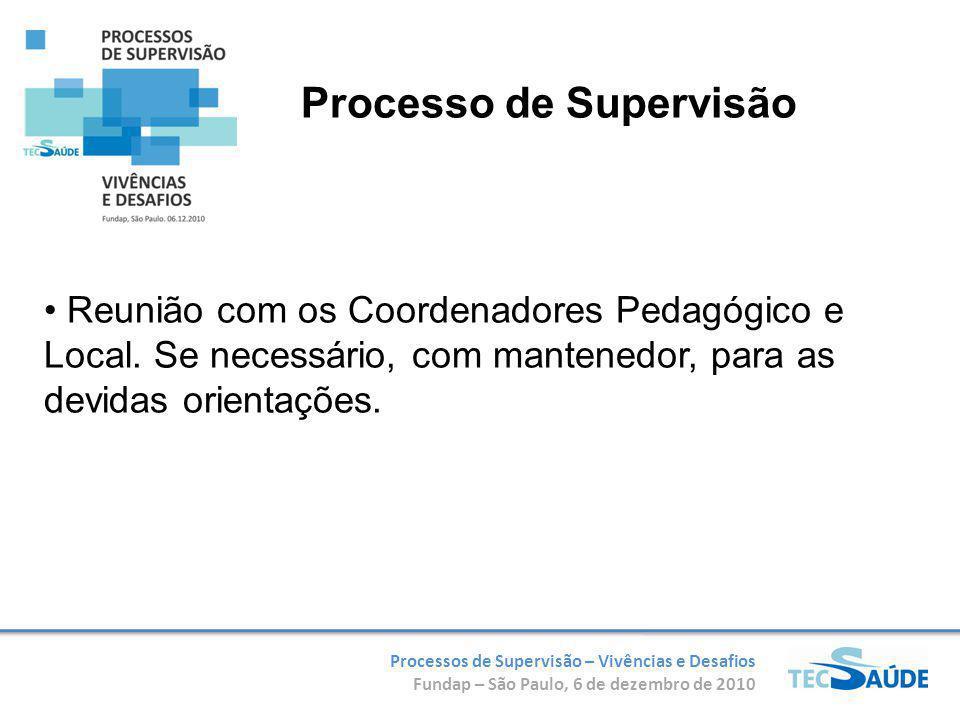 Processos de Supervisão – Vivências e Desafios Fundap – São Paulo, 6 de dezembro de 2010 Reunião com os Coordenadores Pedagógico e Local. Se necessári