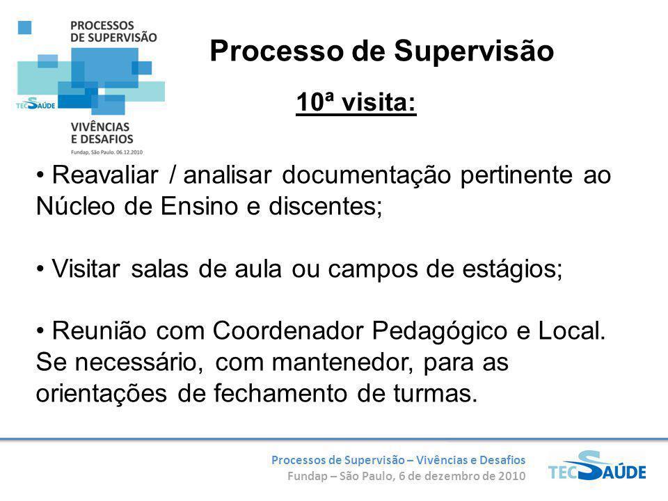 Processos de Supervisão – Vivências e Desafios Fundap – São Paulo, 6 de dezembro de 2010 Reavaliar / analisar documentação pertinente ao Núcleo de Ens